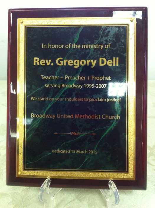 photo of plaque honoring Greg